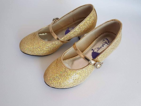 Girls Gold Heeled Dress Shoes