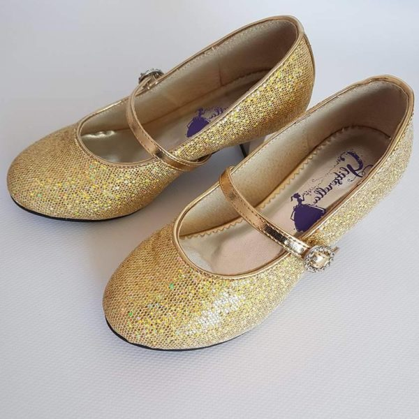205949df2a Girls Gold Heeled Dress Shoes. Quality Designs from Glitzerella